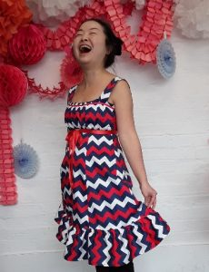 Yifen modeling her joyful new dress